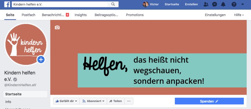 Beispiel großer Plus Button auf der Facebook Seite vom Verein Kindern Helfen e.V.
